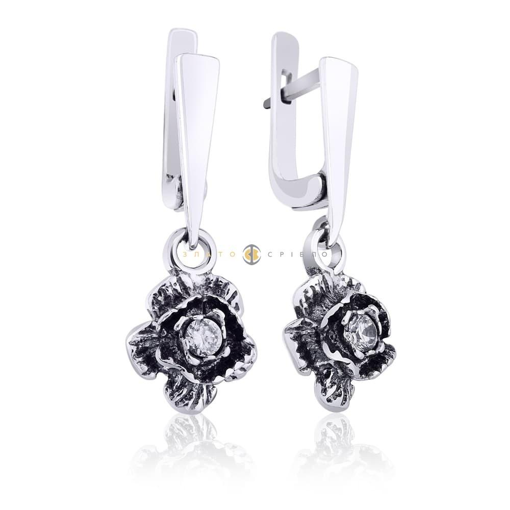 Срібні сережки «Троянда» з фіанітами в интернет-магазине «ЗлатоСрібло» be7bc4ec321e5
