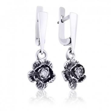 Серебряные серьги «Роза»