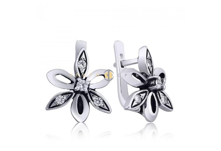 Срібні сережки з білими фіанітами