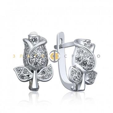 Срібні сережки «Бутон троянди»