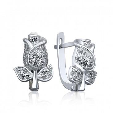 Серебряные серьги «Бутон розы»