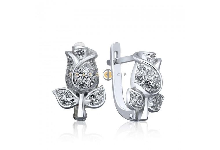 Срібні сережки «Бутон троянди» з фіанітами в интернет-магазине ... b6e332a218be4