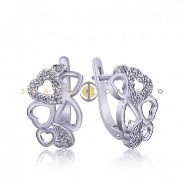 Серебряные серьги «Hearts»