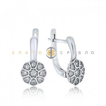 Срібні сережки з фіанітами