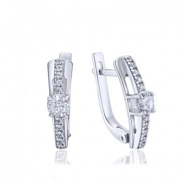 Серебряные серьги «Наслаждение» с фианитами