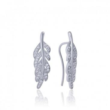 Серебряные серьги каффы «Запах весны» с фианитами