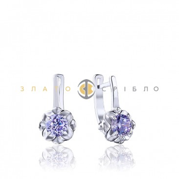 Серебряные серьги «Фиалка»