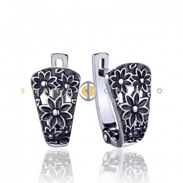 Срібні сережки «Квіткове мереживо»