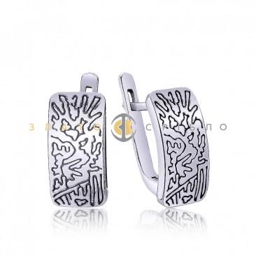 Срібні сережки «Загадкові візерунки»