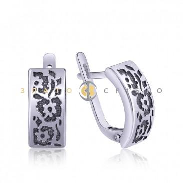 Срібні сережки «Квіткові візерунки»