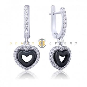 Серебряные серьги «Изабель» с черной керамикой