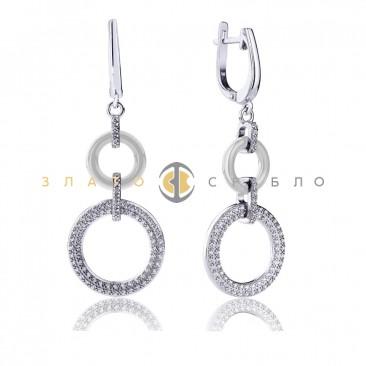 Серебряные серьги «Донатин» с белой керамикой
