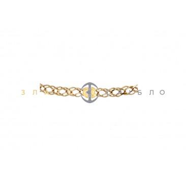 """Золотий браслет """"Ромб подвійний рідкий з алмазною гранню"""""""