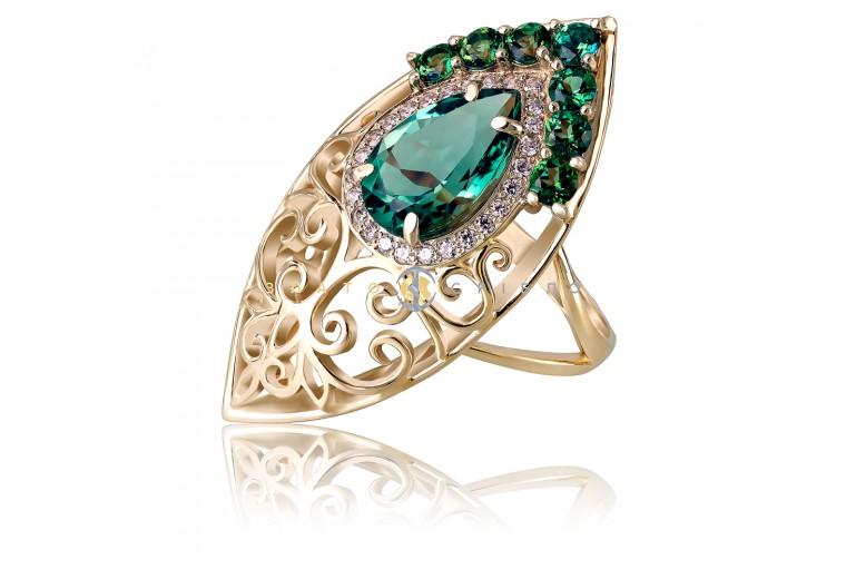 Золотое кольцо «Ванесса» с кварцем и топазами