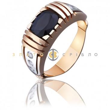 Золота печатка «Бізнесмен» з сапфіром і діамантами