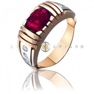 Золотая печатка  «Бизнесмен» с рубином и бриллиантами