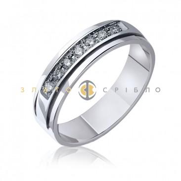 Обручальное золотое кольцо «Седьмое небо» с бриллиантами в белом золоте