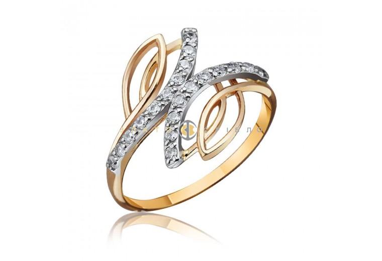 """Золотое кольцо с фианитами """"Лианна"""""""