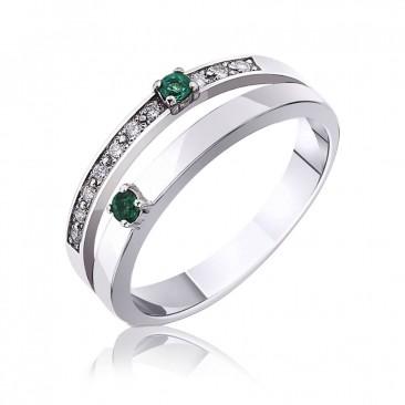 Золотое кольцо «Twins» с изумрудами и бриллиантами