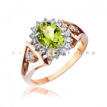 """Золотое кольцо """"Изабелла"""" с хризолитом"""