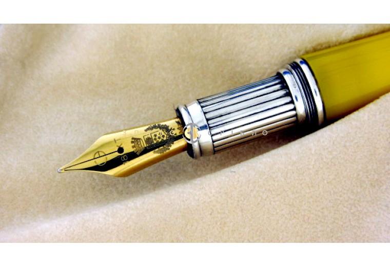 """Шариковая серебряная ручка """"Cesare Emiliano"""" в синем мраморе (тонкая)"""