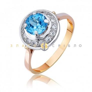 "Золотое кольцо ""Виталина"" c топазом  Swiss"