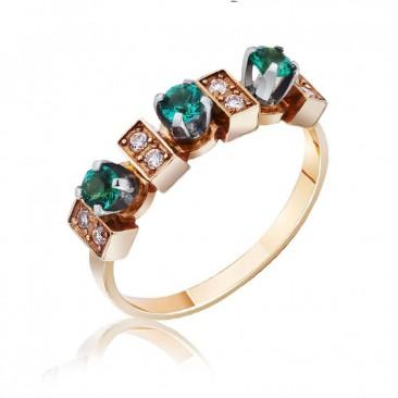 """Золотое кольцо """"Эсмеральда"""" с гидротермальным изумрудом"""
