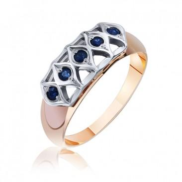 Золотое кольцо «Женевьев» с сапфирами