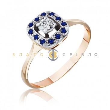 Золотое кольцо «Одри» с бриллиантом и сапфирами