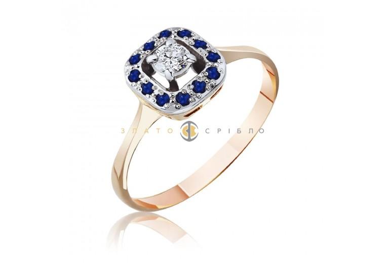 """Золотое кольцо """"Одри"""" с бриллиантом и сапфирами"""