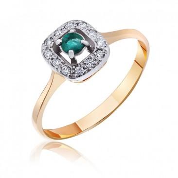 """Золотое кольцо """"Одри""""  с изумрудом и бриллиантами"""