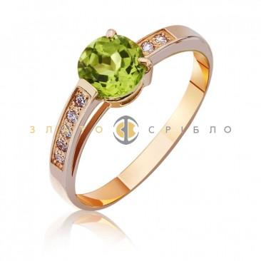 """Золотое кольцо """"Нежность"""" с хризолитом"""