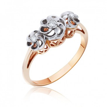 Золотое кольцо «Розали» с бриллиантами