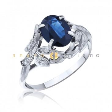 """Золотое кольцо """"Княжна"""" с сапфиром и бриллиантами"""