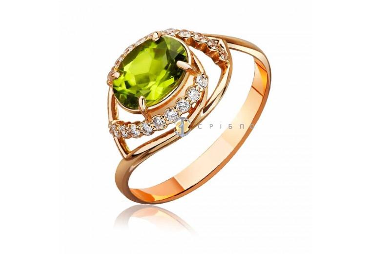 """Золотое кольцо """"Фуджи"""" с хризолитом"""