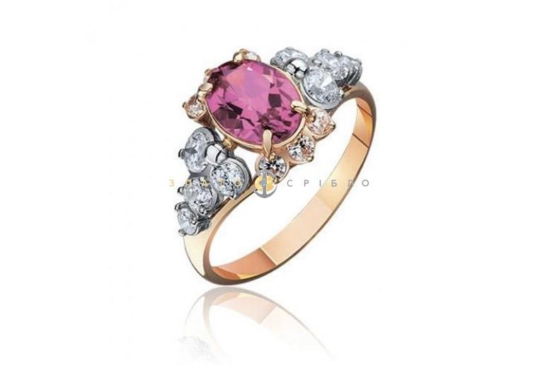 """Золотое кольцо """"Баронесса"""" с розовым топазом"""