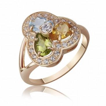 """Золотое кольцо """"Стихия"""" с полудрагоценными вставками"""