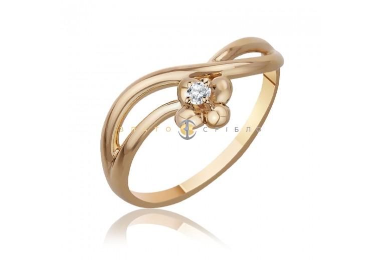 """Золотое кольцо """"Сакура"""" с бриллиантом"""