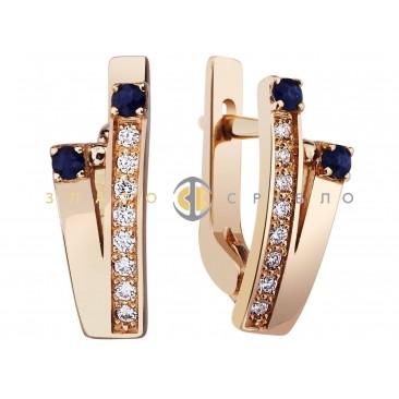 Золотые серьги «Twins» с сапфирами и бриллиантами