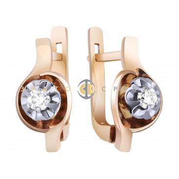 """Золоті сережки """"Флоранс"""" з діамантом"""