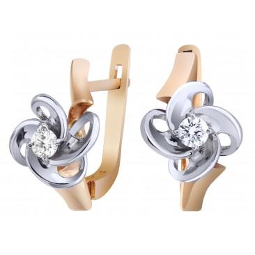Золотые серьги «Париж» с бриллиантом