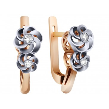 Золотые серьги «Розали» с бриллиантами