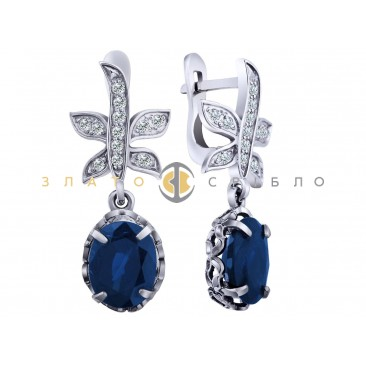 """Золоті сережки """"Княжна"""" з сапфіром і діамантами"""