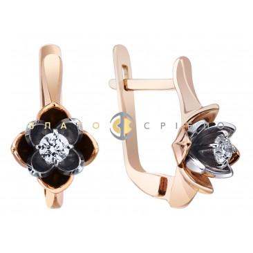 Золотые серьги «Цветок лотоса» с бриллиантом