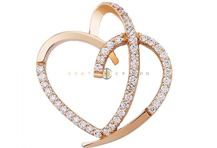 """Золотой подвес """"Сердце"""" с бриллиантами"""
