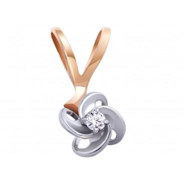 Золотой подвес «Париж» с бриллиантом