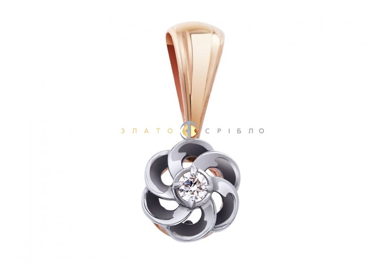 Золотой подвес «Розали» с бриллиантом